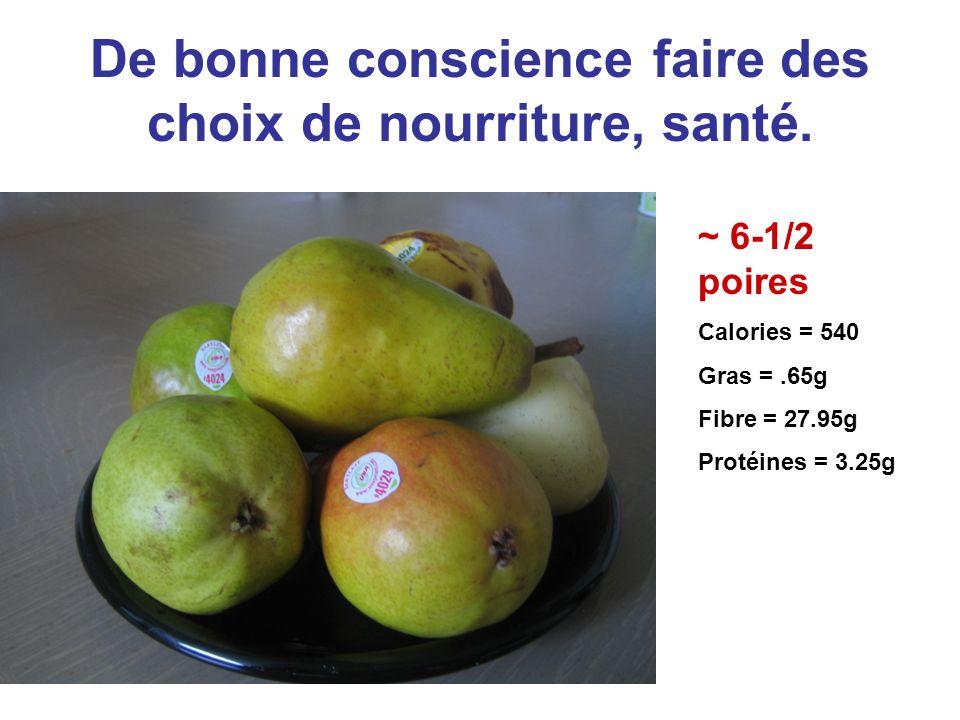 De bonne conscience faire des choix de nourriture, santé. ~ 6-1/2 poires Calories = 540 Gras =.65g Fibre = 27.95g Protéines = 3.25g
