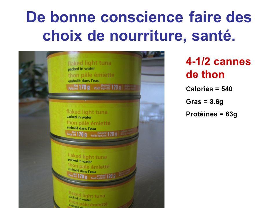 De bonne conscience faire des choix de nourriture, santé. 4-1/2 cannes de thon Calories = 540 Gras = 3.6g Protéines = 63g