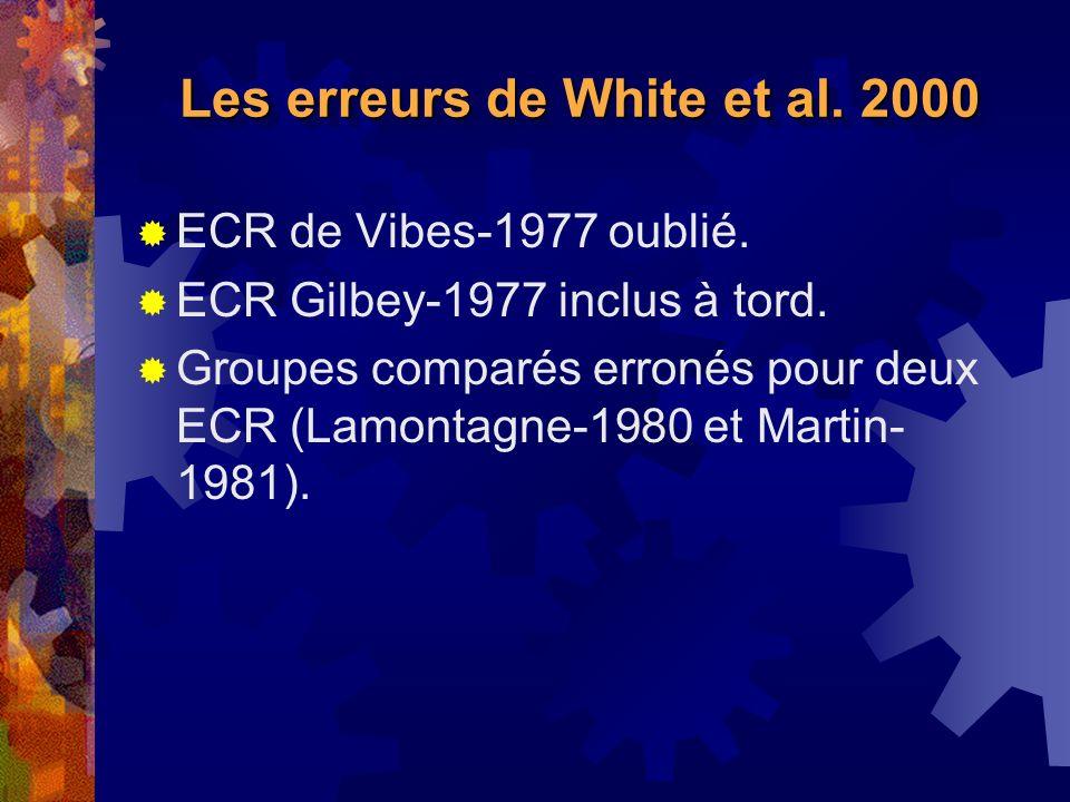 Les erreurs de White et al.2000 ECR de Vibes-1977 oublié.