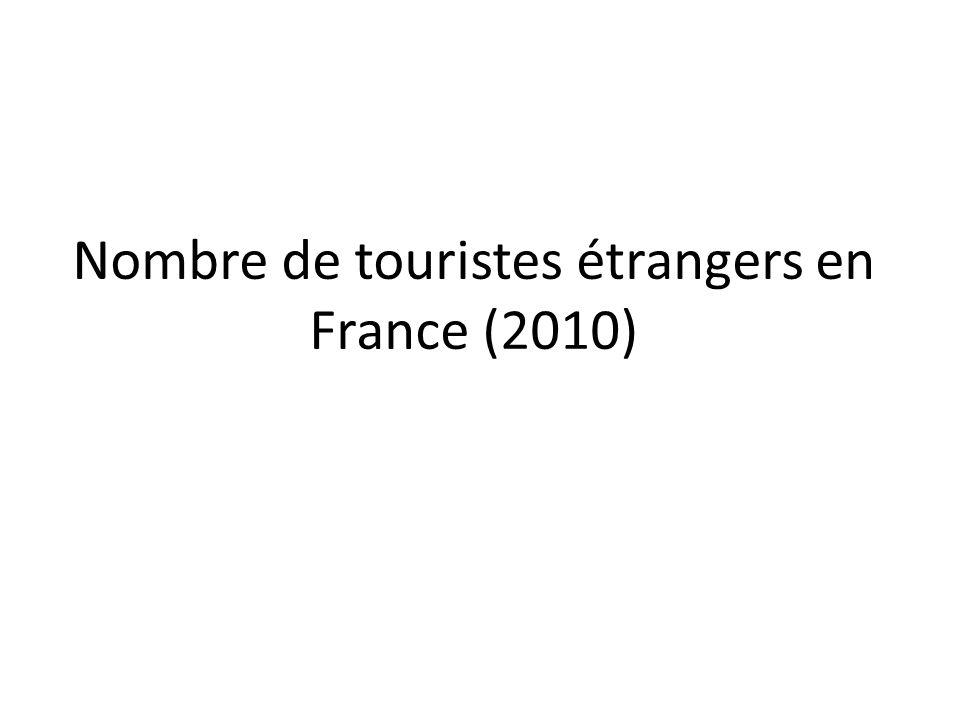 Nombre de touristes étrangers en France (2010)