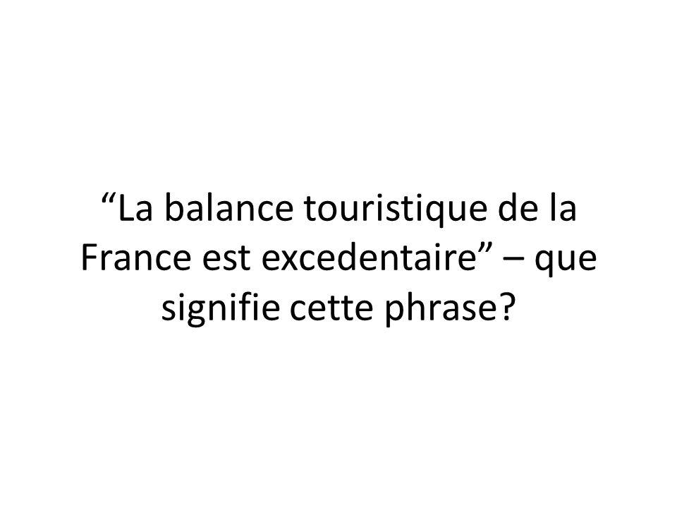 La balance touristique de la France est excedentaire – que signifie cette phrase?