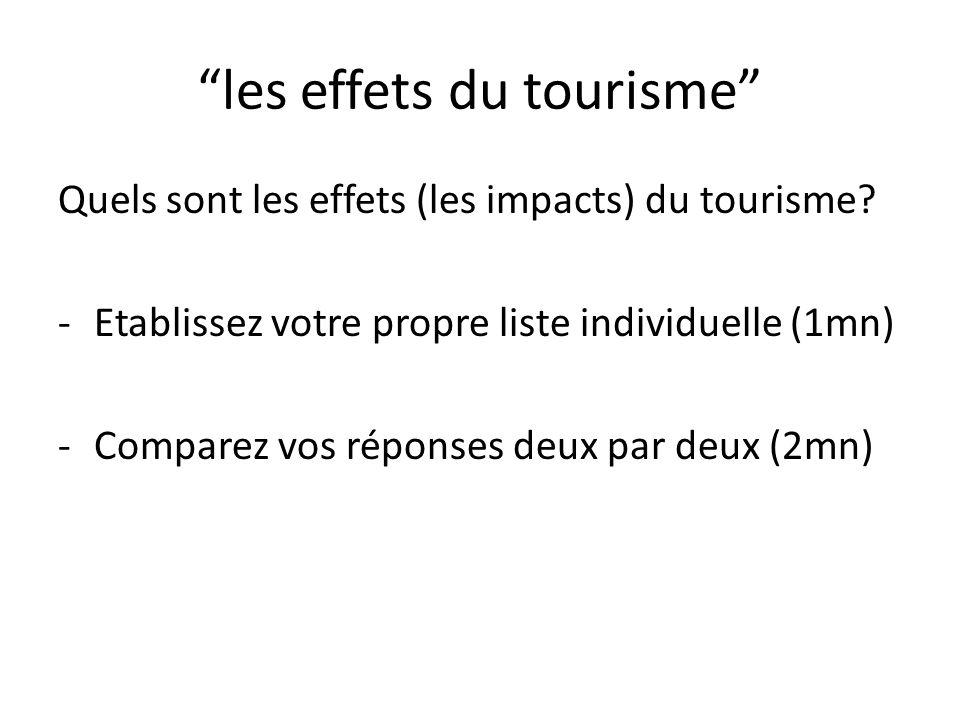 les effets du tourisme Quels sont les effets (les impacts) du tourisme.