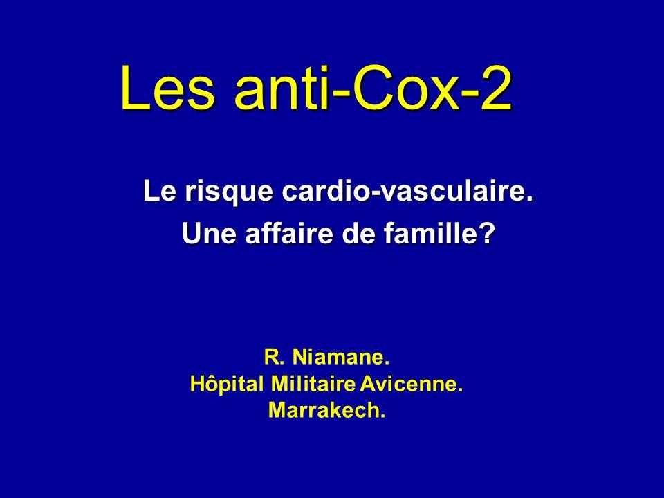 Les anti-Cox-2 Le risque cardio-vasculaire. Une affaire de famille? R. Niamane. Hôpital Militaire Avicenne. Marrakech.
