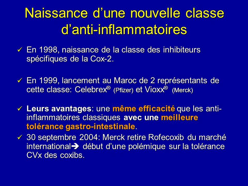 Naissance dune nouvelle classe danti-inflammatoires En 1998, naissance de la classe des inhibiteurs spécifiques de la Cox-2. En 1998, naissance de la