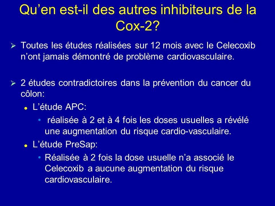 Quen est-il des autres inhibiteurs de la Cox-2? Toutes les études réalisées sur 12 mois avec le Celecoxib nont jamais démontré de problème cardiovascu