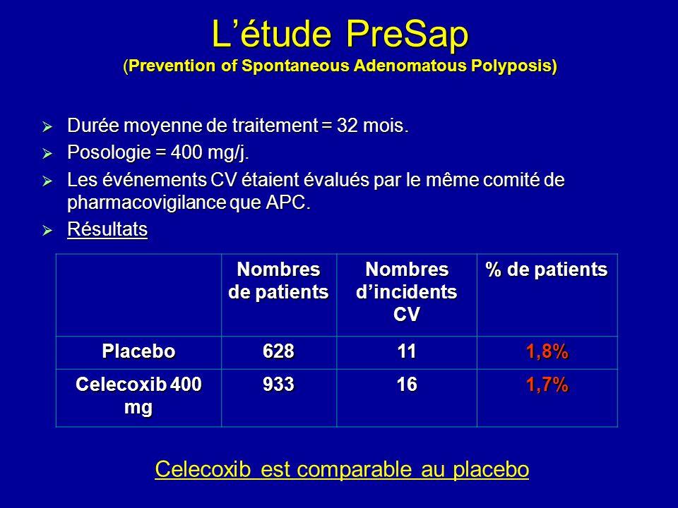 Létude PreSap (Prevention of Spontaneous Adenomatous Polyposis) Durée moyenne de traitement = 32 mois. Durée moyenne de traitement = 32 mois. Posologi