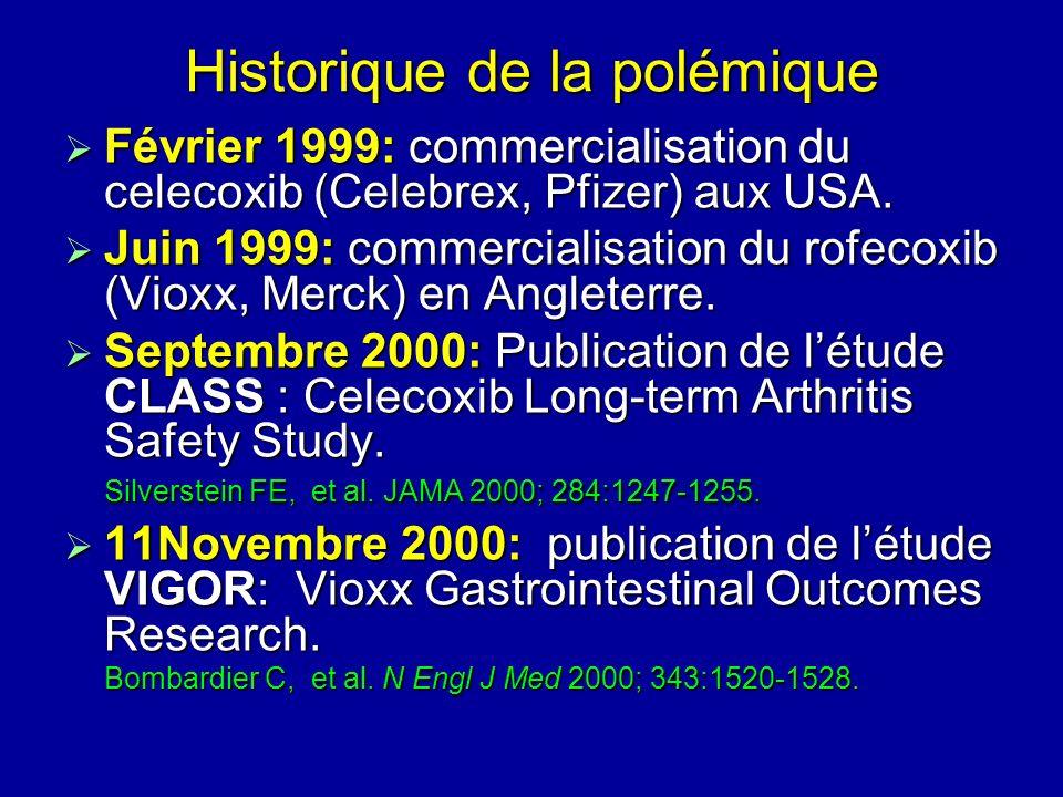 Historique de la polémique Février 1999: commercialisation du celecoxib (Celebrex, Pfizer) aux USA. Février 1999: commercialisation du celecoxib (Cele