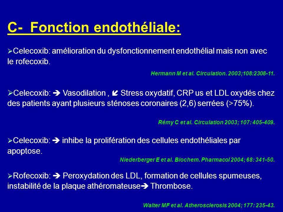 C- Fonction endothéliale: Celecoxib: amélioration du dysfonctionnement endothélial mais non avec le rofecoxib. Hermann M et al. Circulation. 2003;108: