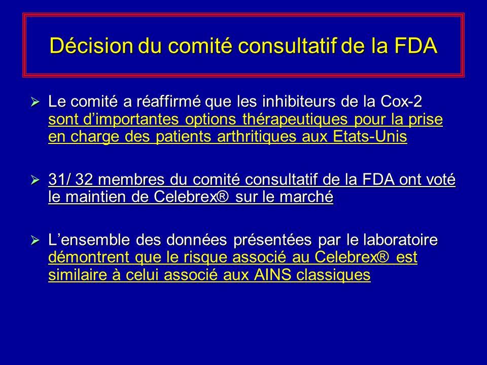 Décision du comité consultatif de la FDA Le comité a réaffirmé que les inhibiteurs de la Cox-2 Le comité a réaffirmé que les inhibiteurs de la Cox-2 s