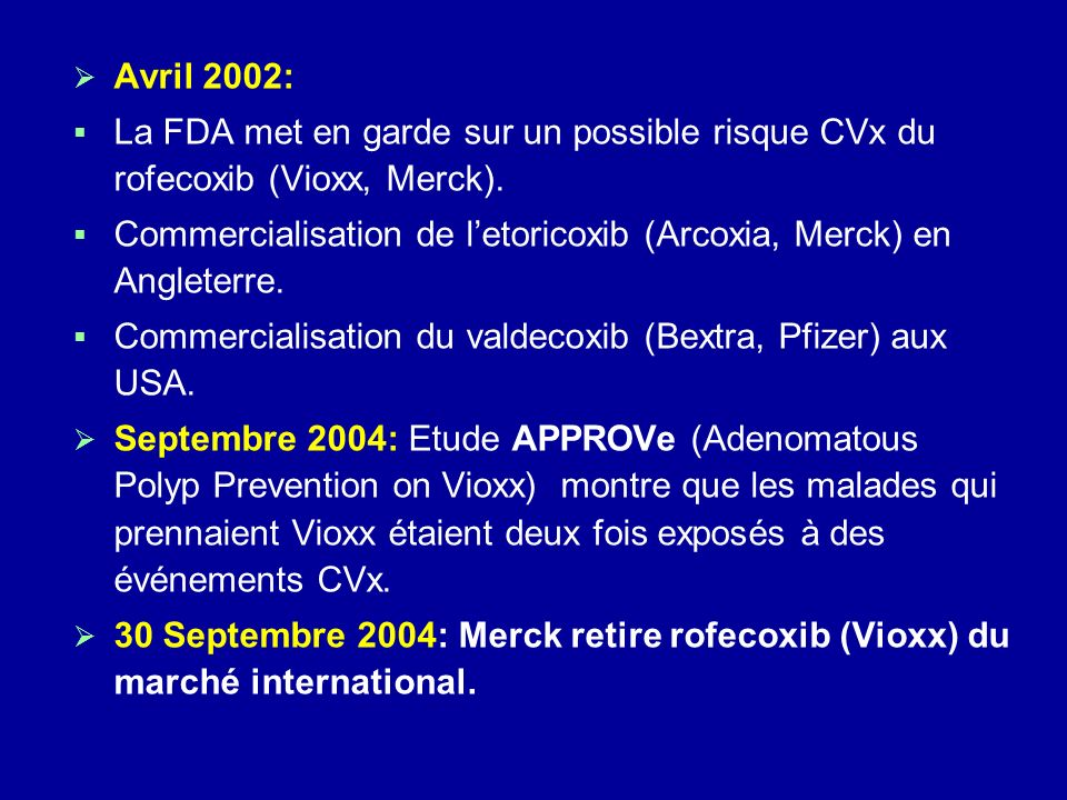 Avril 2002: La FDA met en garde sur un possible risque CVx du rofecoxib (Vioxx, Merck). Commercialisation de letoricoxib (Arcoxia, Merck) en Angleterr