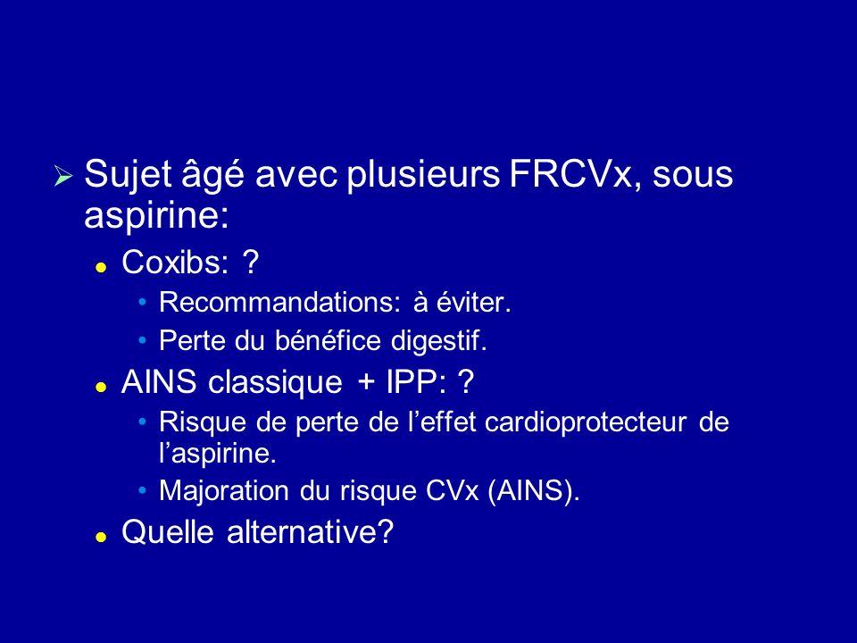 Sujet âgé avec plusieurs FRCVx, sous aspirine: Coxibs: ? Recommandations: à éviter. Perte du bénéfice digestif. AINS classique + IPP: ? Risque de pert