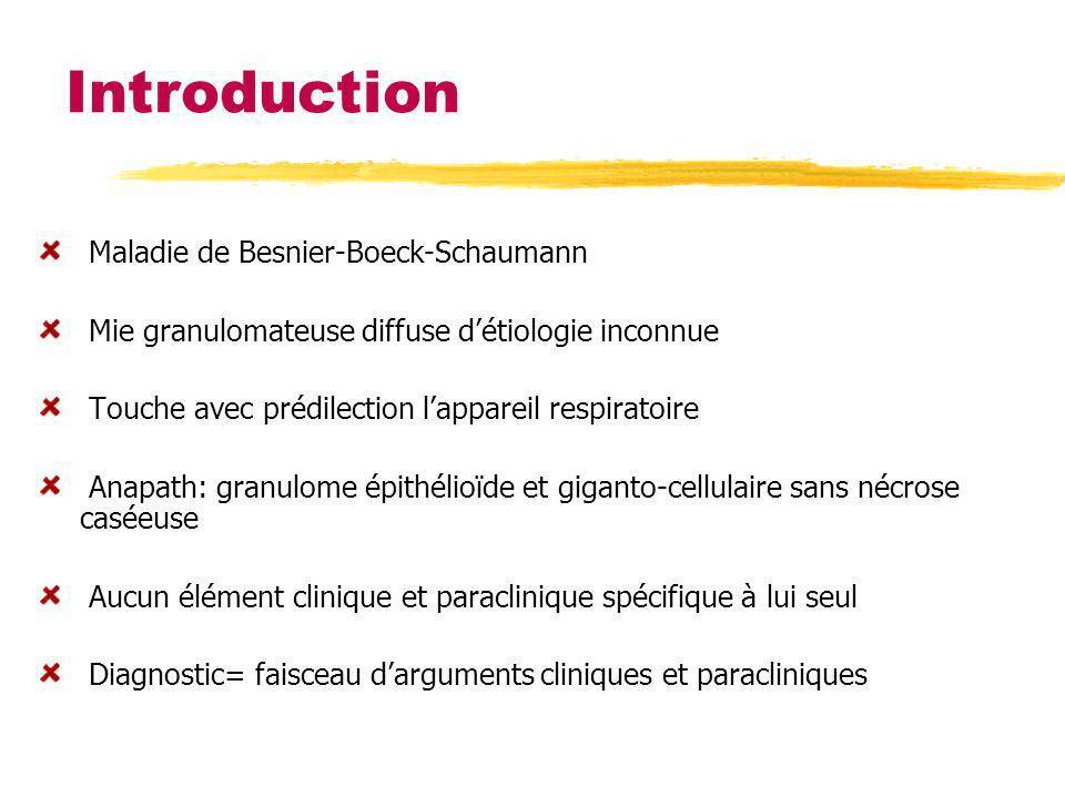 Introduction Maladie de Besnier-Boeck-Schaumann Mie granulomateuse diffuse détiologie inconnue Touche avec prédilection lappareil respiratoire Anapath