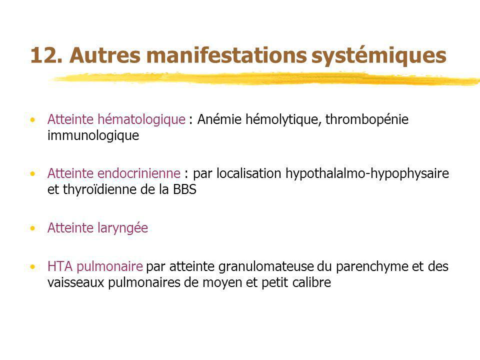 12. Autres manifestations systémiques Atteinte hématologique : Anémie hémolytique, thrombopénie immunologique Atteinte endocrinienne : par localisatio
