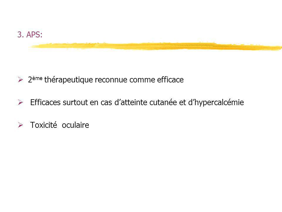 3. APS: 2 ème thérapeutique reconnue comme efficace Efficaces surtout en cas datteinte cutanée et dhypercalcémie Toxicité oculaire