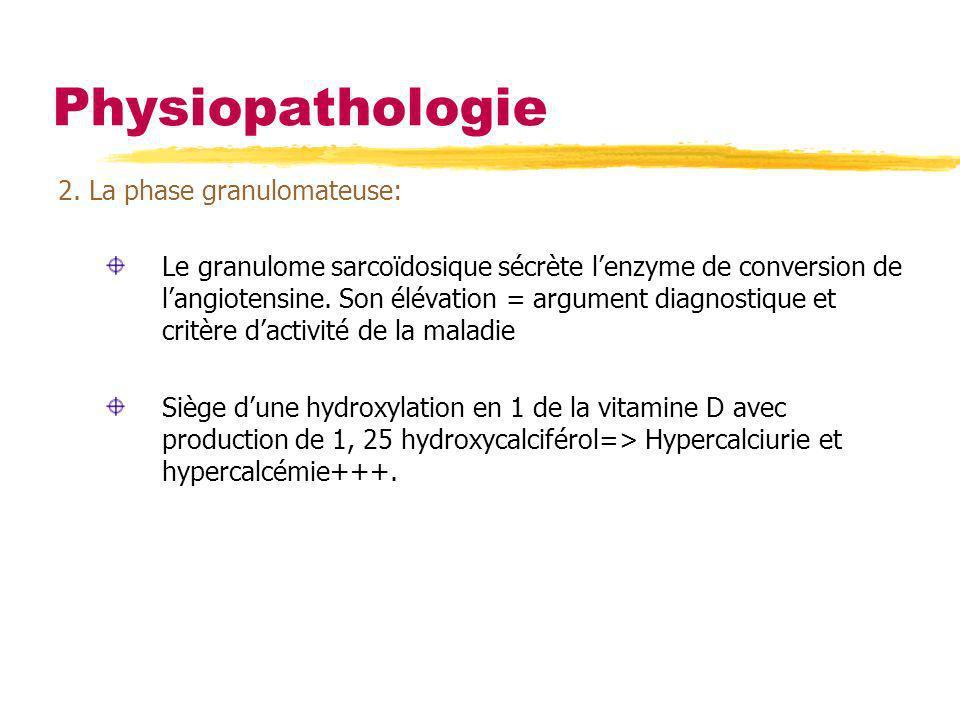 Physiopathologie 2. La phase granulomateuse: Le granulome sarcoïdosique sécrète lenzyme de conversion de langiotensine. Son élévation = argument diagn