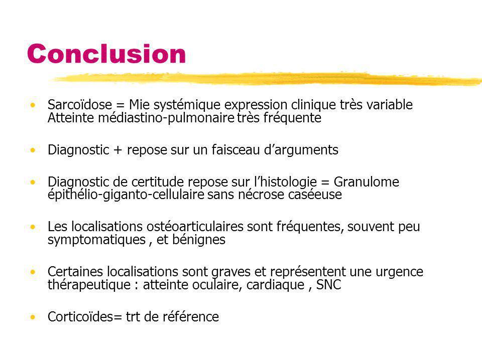 Conclusion Sarcoïdose = Mie systémique expression clinique très variable Atteinte médiastino-pulmonaire très fréquente Diagnostic + repose sur un fais