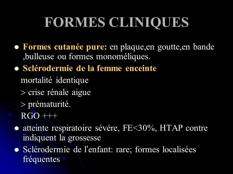 FORMES CLINIQUES Formes cutanée pure: en plaque,en goutte,en bande,bulleuse ou formes monoméliques. Sclérodermie de la femme enceinte mortalité identi