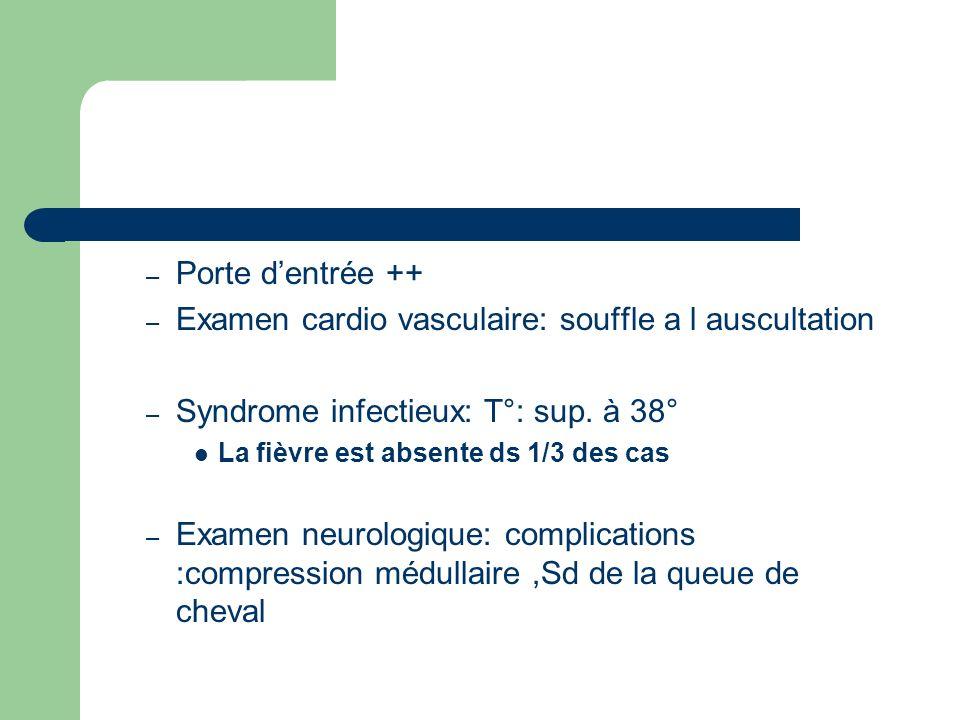 – Porte dentrée ++ – Examen cardio vasculaire: souffle a l auscultation – Syndrome infectieux: T°: sup. à 38° La fièvre est absente ds 1/3 des cas – E