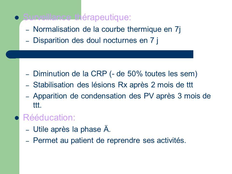 Surveillance thérapeutique: – Normalisation de la courbe thermique en 7j – Disparition des doul nocturnes en 7 j – Diminution de la CRP (- de 50% tout