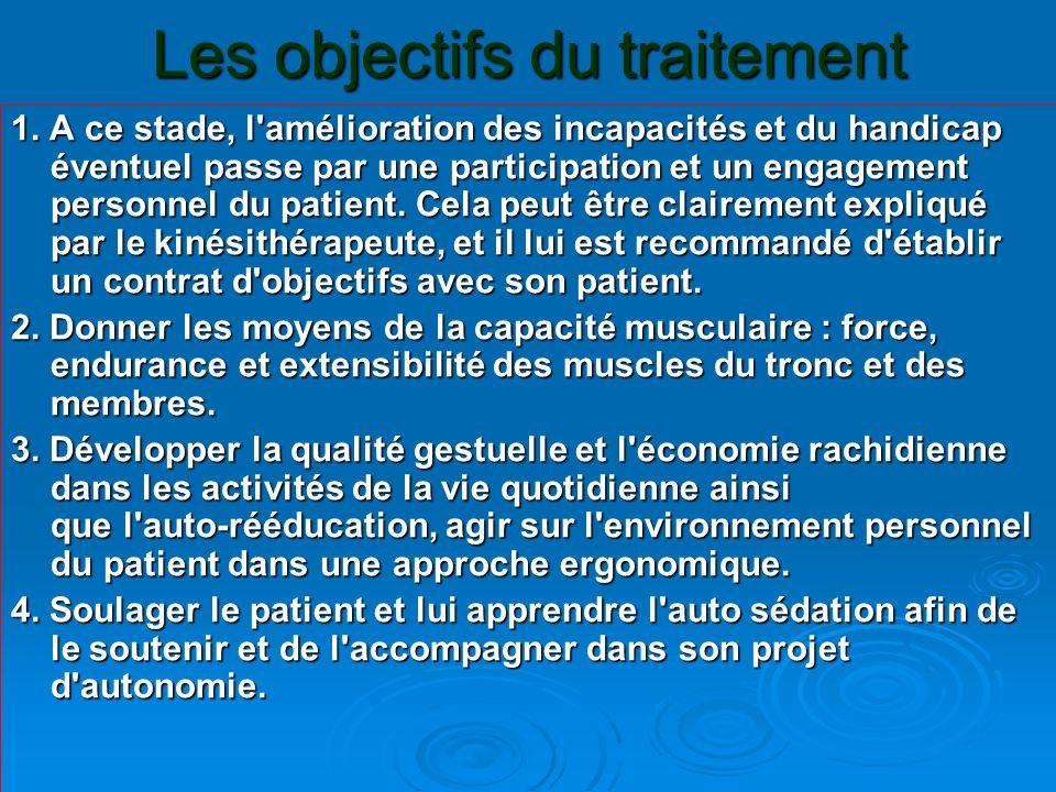 Les objectifs du traitement 1. A ce stade, l'amélioration des incapacités et du handicap éventuel passe par une participation et un engagement personn