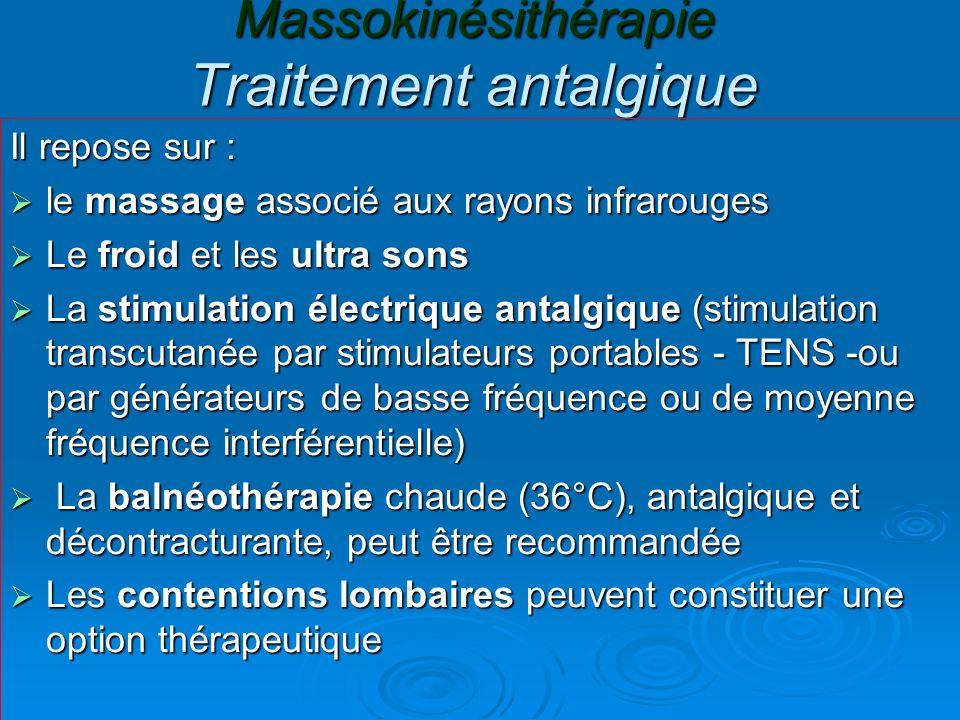 Massokinésithérapie Traitement antalgique Il repose sur : le massage associé aux rayons infrarouges le massage associé aux rayons infrarouges Le froid