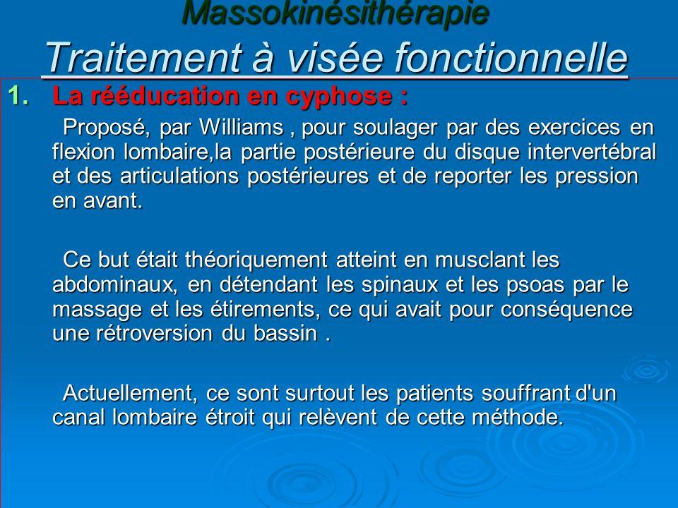 Massokinésithérapie Traitement à visée fonctionnelle 1.La rééducation en cyphose : Proposé, par Williams, pour soulager par des exercices en flexion l