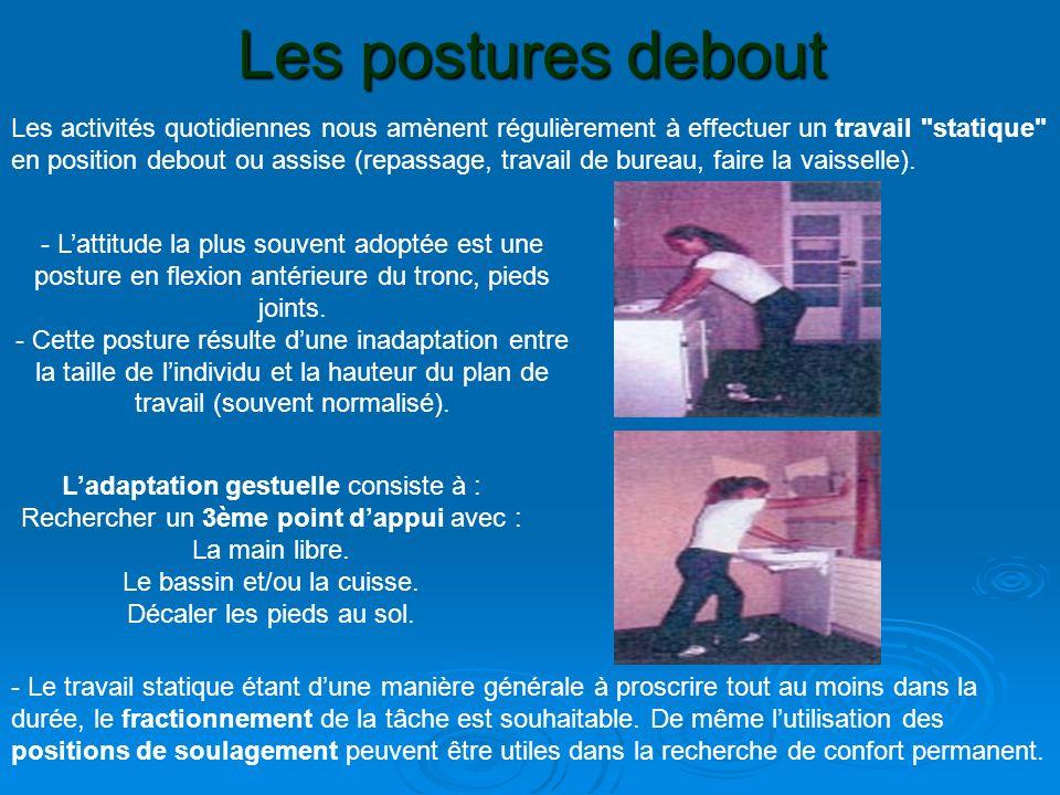 Les postures debout - Lattitude la plus souvent adoptée est une posture en flexion antérieure du tronc, pieds joints. - Cette posture résulte dune ina