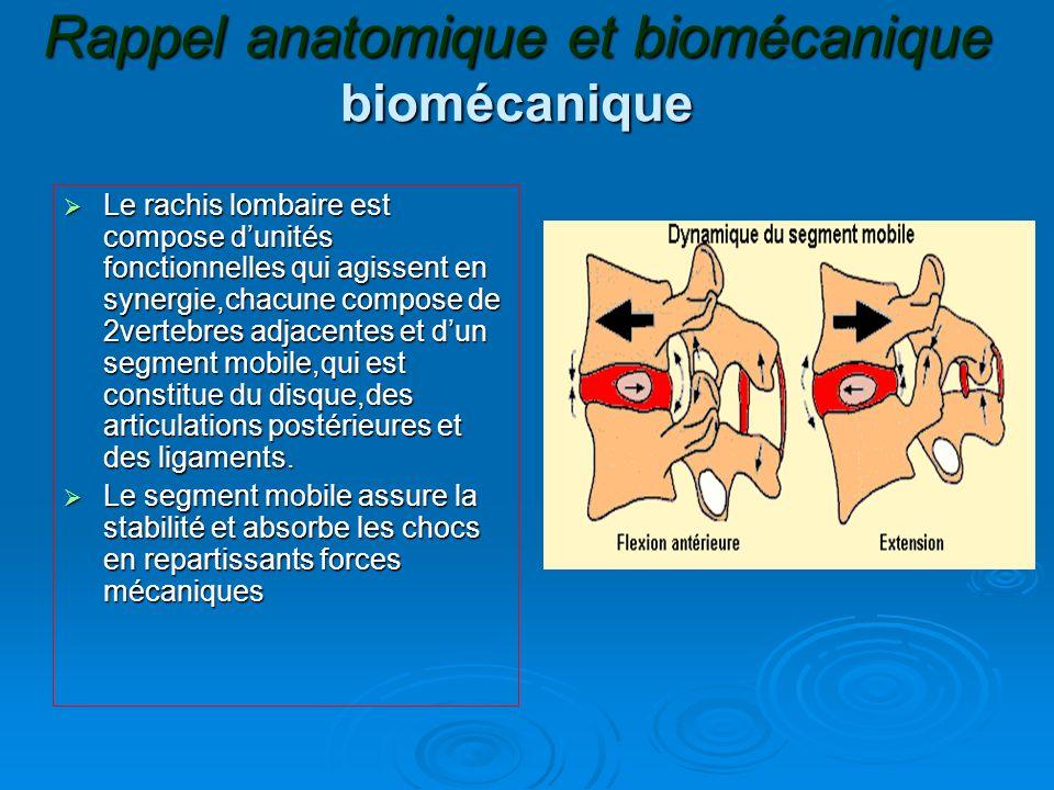 Rappel anatomique et biomécanique biomécanique Le rachis lombaire est compose dunités fonctionnelles qui agissent en synergie,chacune compose de 2vert