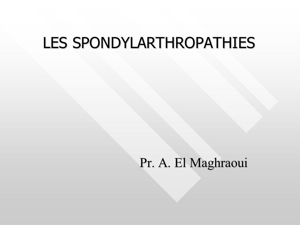 Manifestations dorsales et thoraciques * Dorsalgies, douleurs intercostales, douleurs de la paroi thoracique antérieure inflammatoires Manifestations dorsales et thoraciques * Dorsalgies, douleurs intercostales, douleurs de la paroi thoracique antérieure inflammatoires Manifestations articulaires périphériques : 20-25% Manifestations articulaires périphériques : 20-25% Mono ou oligoarthrite asymétrique des MI Mono ou oligoarthrite asymétrique des MI Polyarthrite rare Polyarthrite rare Enthésopathies inflammatoires Enthésopathies inflammatoires Talalgies +++ Talalgies +++ Manifestations viscérales Manifestations viscérales Œil rouge douloureuxŒil rouge douloureux