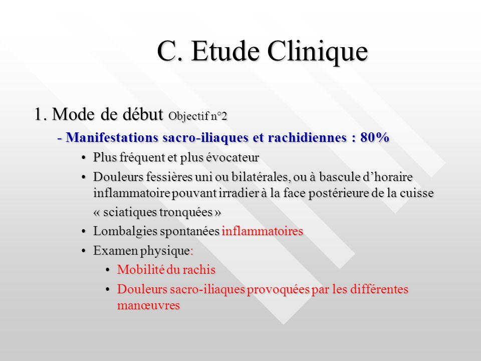C. Etude Clinique C. Etude Clinique 1. Mode de début Objectif n°2 - Manifestations sacro-iliaques et rachidiennes : 80% Plus fréquent et plus évocateu