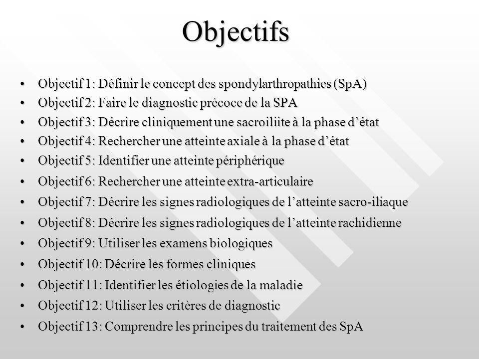 Objectifs Objectif 1: Définir le concept des spondylarthropathies (SpA)Objectif 1: Définir le concept des spondylarthropathies (SpA) Objectif 2: Faire