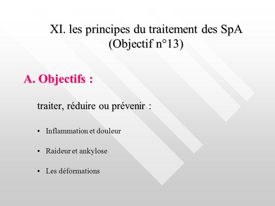 XI. les principes du traitement des SpA (Objectif n°13) A. Objectifs : traiter, réduire ou prévenir : Inflammation et douleurInflammation et douleur R