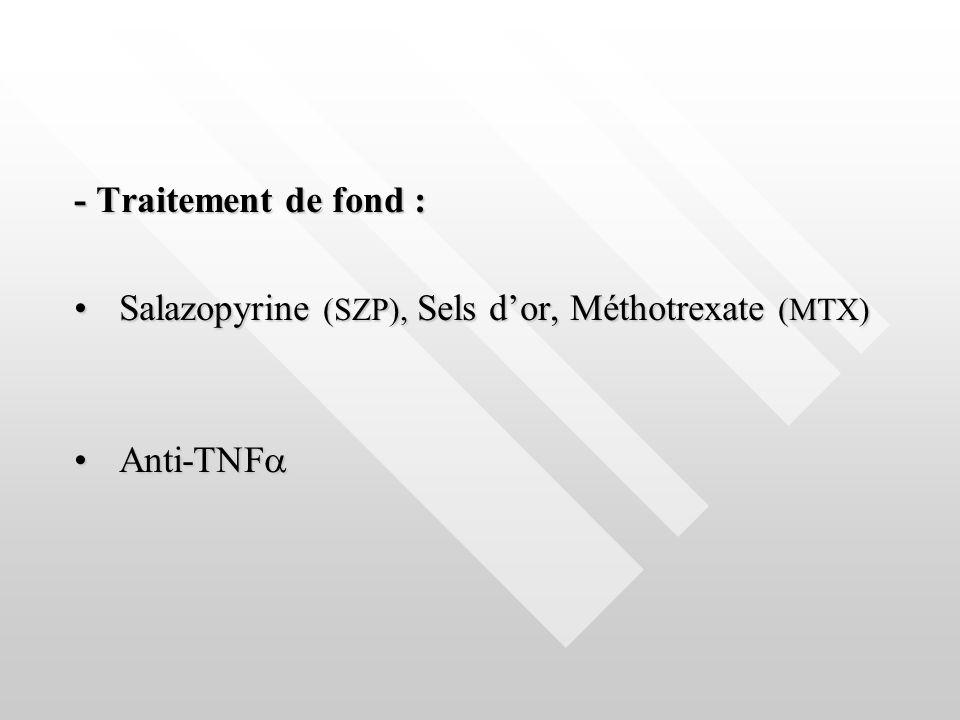 - Traitement de fond : Salazopyrine (SZP), Sels dor, Méthotrexate (MTX) Salazopyrine (SZP), Sels dor, Méthotrexate (MTX) Anti-TNF Anti-TNF