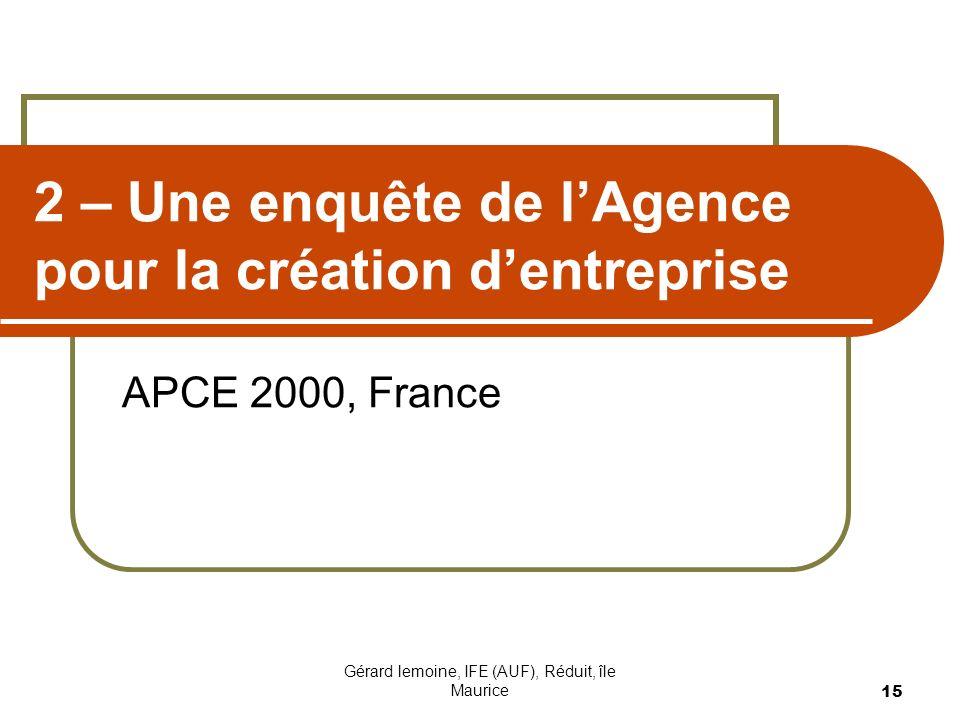 Gérard lemoine, IFE (AUF), Réduit, île Maurice 15 2 – Une enquête de lAgence pour la création dentreprise APCE 2000, France