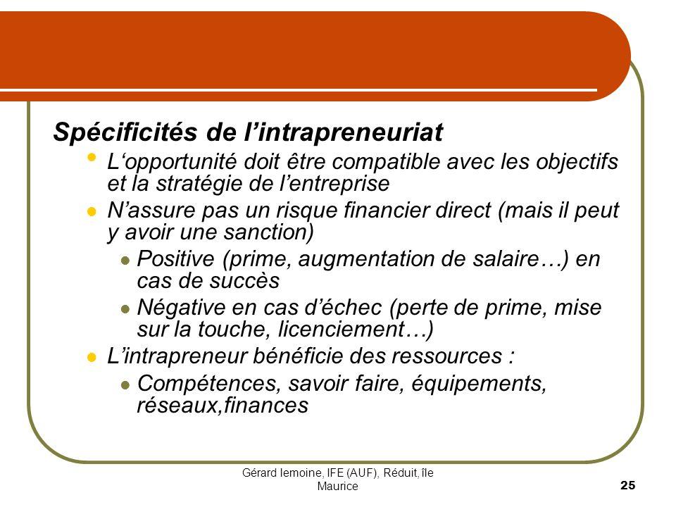 Gérard lemoine, IFE (AUF), Réduit, île Maurice 25 Spécificités de lintrapreneuriat Lopportunité doit être compatible avec les objectifs et la stratégi