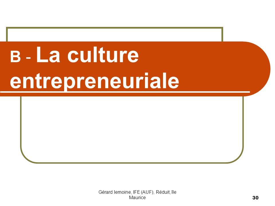Gérard lemoine, IFE (AUF), Réduit, île Maurice 30 B - La culture entrepreneuriale
