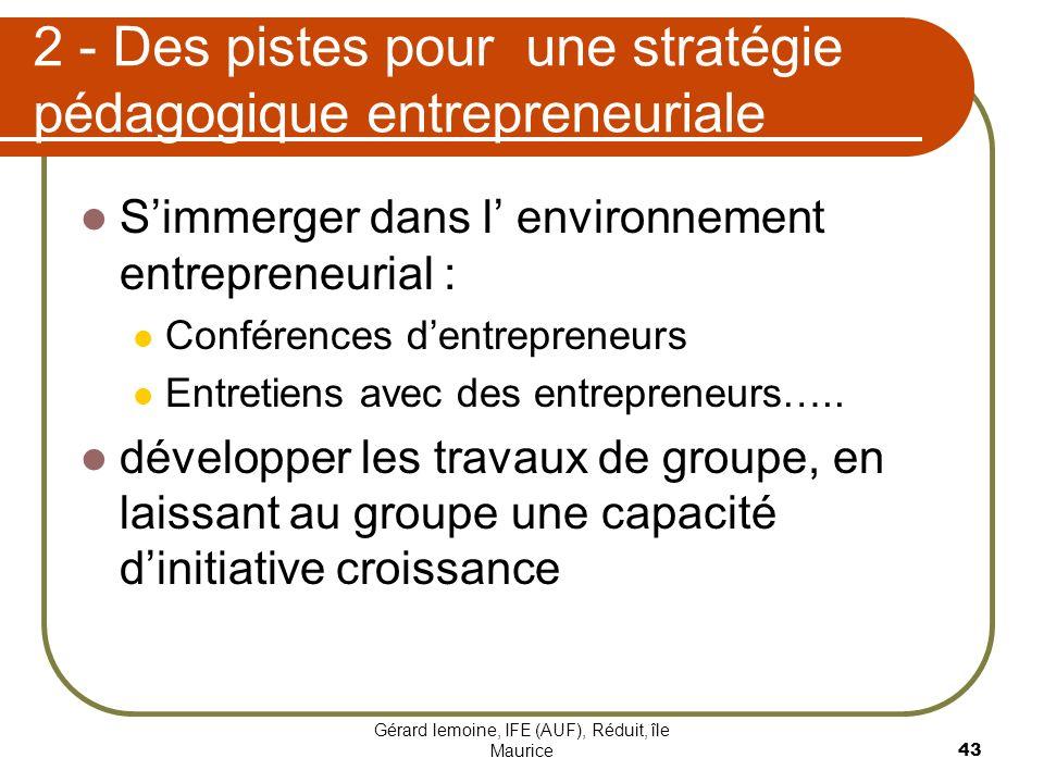 Gérard lemoine, IFE (AUF), Réduit, île Maurice 43 2 - Des pistes pour une stratégie pédagogique entrepreneuriale Simmerger dans l environnement entrep