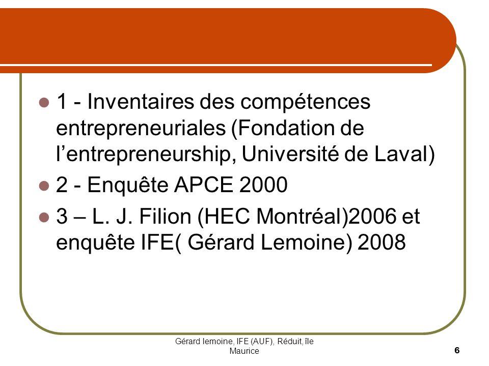 Gérard lemoine, IFE (AUF), Réduit, île Maurice 6 1 - Inventaires des compétences entrepreneuriales (Fondation de lentrepreneurship, Université de Lava