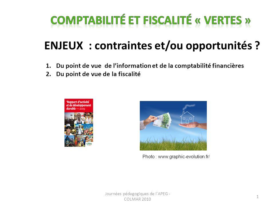 ENJEUX : contraintes et/ou opportunités .