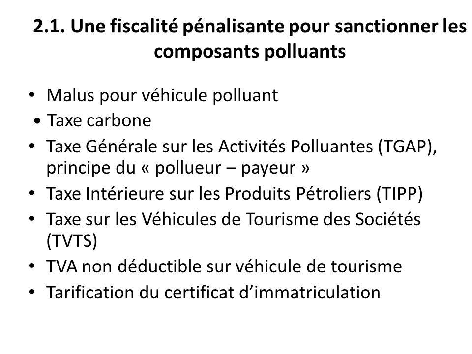 2.1. Une fiscalité pénalisante pour sanctionner les composants polluants Malus pour véhicule polluant Taxe carbone Taxe Générale sur les Activités Pol