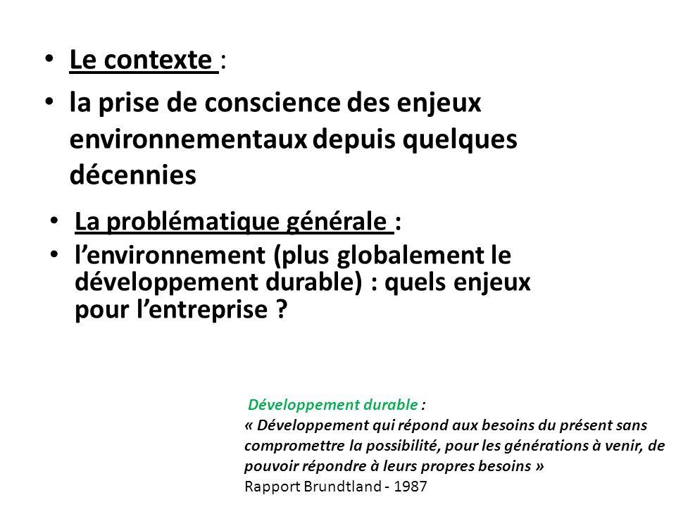 Le contexte : la prise de conscience des enjeux environnementaux depuis quelques décennies La problématique générale : lenvironnement (plus globalement le développement durable) : quels enjeux pour lentreprise .