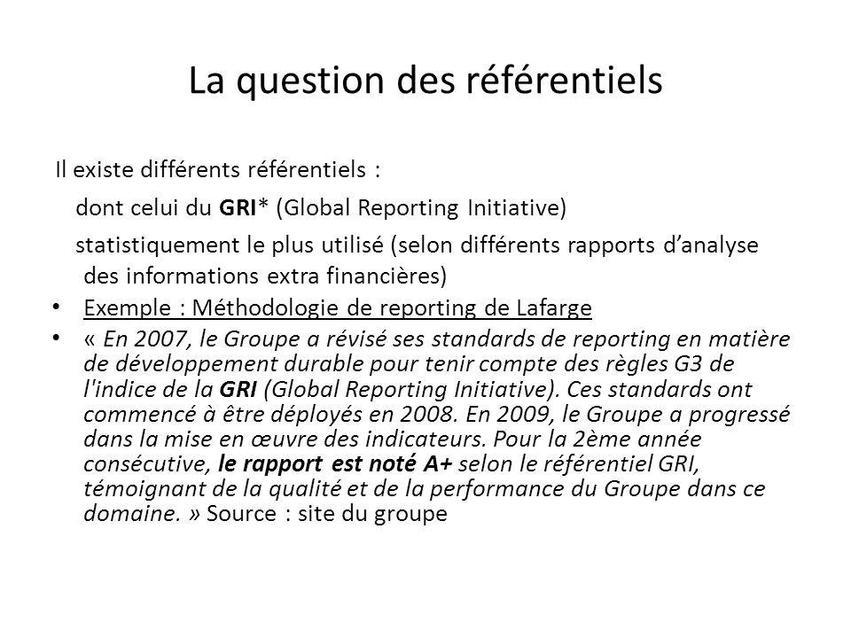La question des référentiels Il existe différents référentiels : dont celui du GRI* (Global Reporting Initiative) statistiquement le plus utilisé (selon différents rapports danalyse des informations extra financières) Exemple : Méthodologie de reporting de Lafarge « En 2007, le Groupe a révisé ses standards de reporting en matière de développement durable pour tenir compte des règles G3 de l indice de la GRI (Global Reporting Initiative).