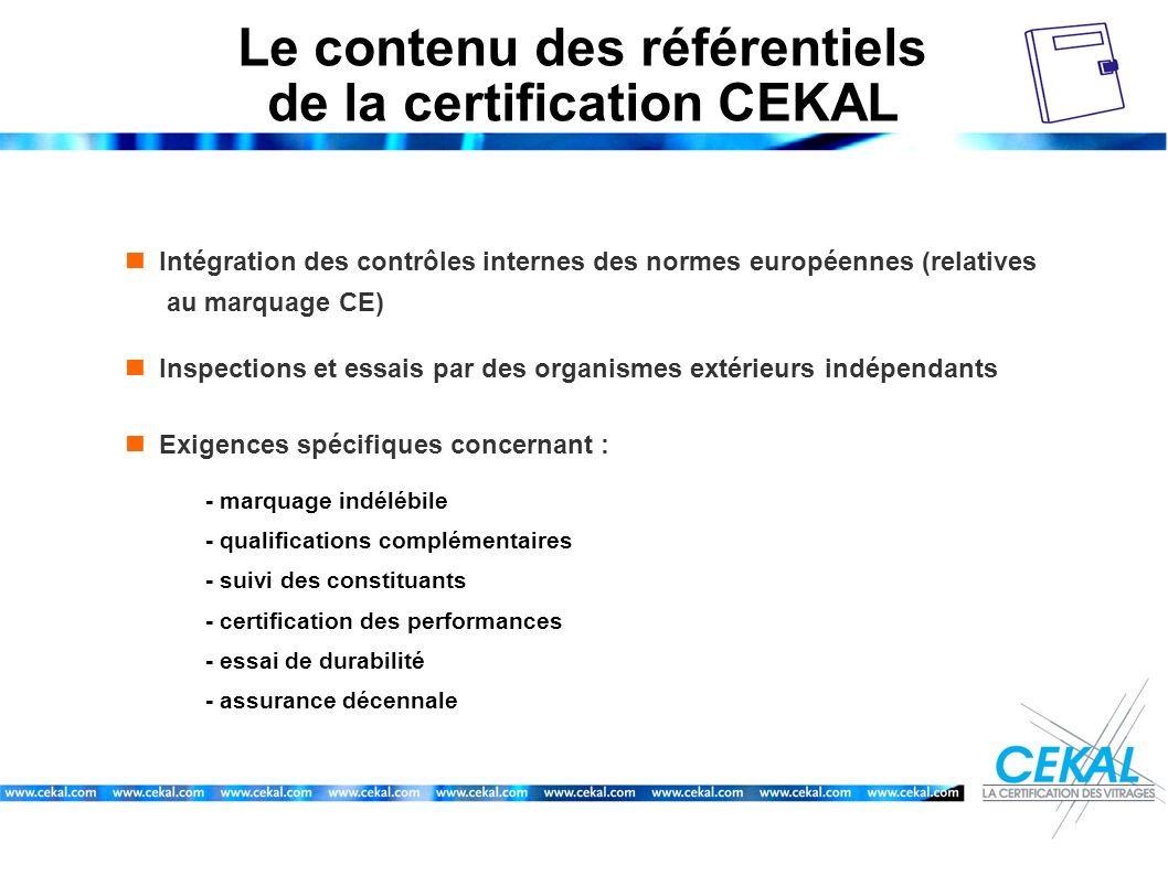 Le contenu des référentiels de la certification CEKAL Intégration des contrôles internes des normes européennes (relatives au marquage CE) Inspections
