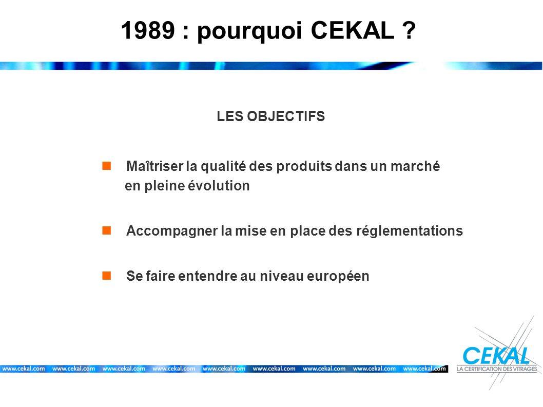 1989 : pourquoi CEKAL ? LES OBJECTIFS Maîtriser la qualité des produits dans un marché en pleine évolution Accompagner la mise en place des réglementa
