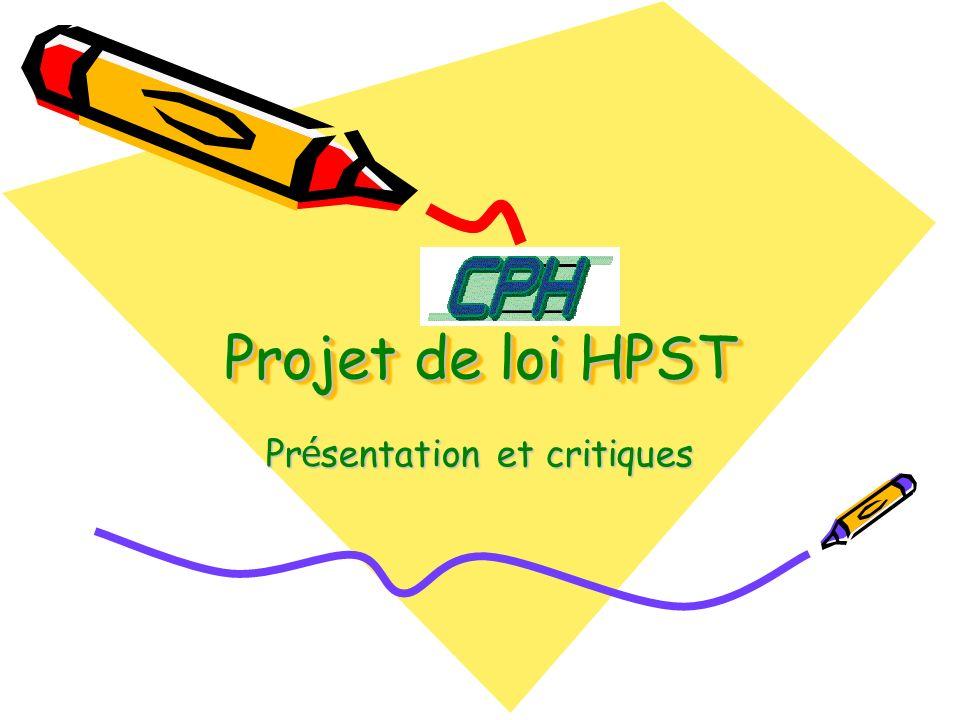Projet de loi HPST Pr é sentation et critiques