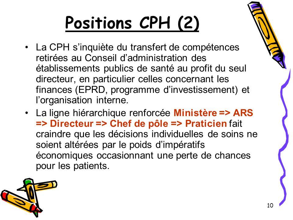 10 Positions CPH (2) La CPH sinquiète du transfert de compétences retirées au Conseil dadministration des établissements publics de santé au profit du