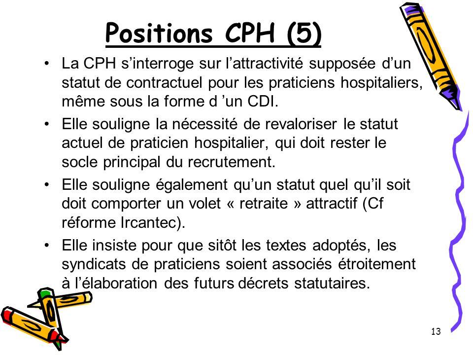 14 Positions CPH (6) La CPH se prononce favorablement sur le principe des Communautés Hospitalières de Territoire (CHT), sous réserve de plus de détails dans leur application, en particulier la façon dont sera tenue compte de lexpression des professionnels de santé.