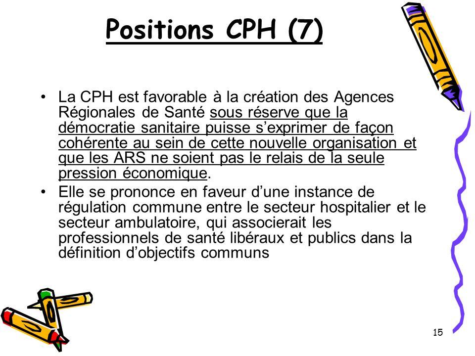 15 Positions CPH (7) La CPH est favorable à la création des Agences Régionales de Santé sous réserve que la démocratie sanitaire puisse sexprimer de façon cohérente au sein de cette nouvelle organisation et que les ARS ne soient pas le relais de la seule pression économique.