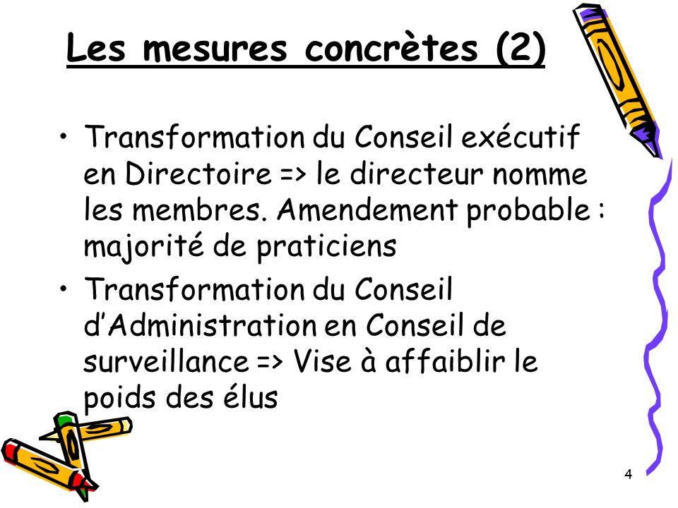 4 Les mesures concrètes (2) Transformation du Conseil exécutif en Directoire => le directeur nomme les membres. Amendement probable : majorité de prat