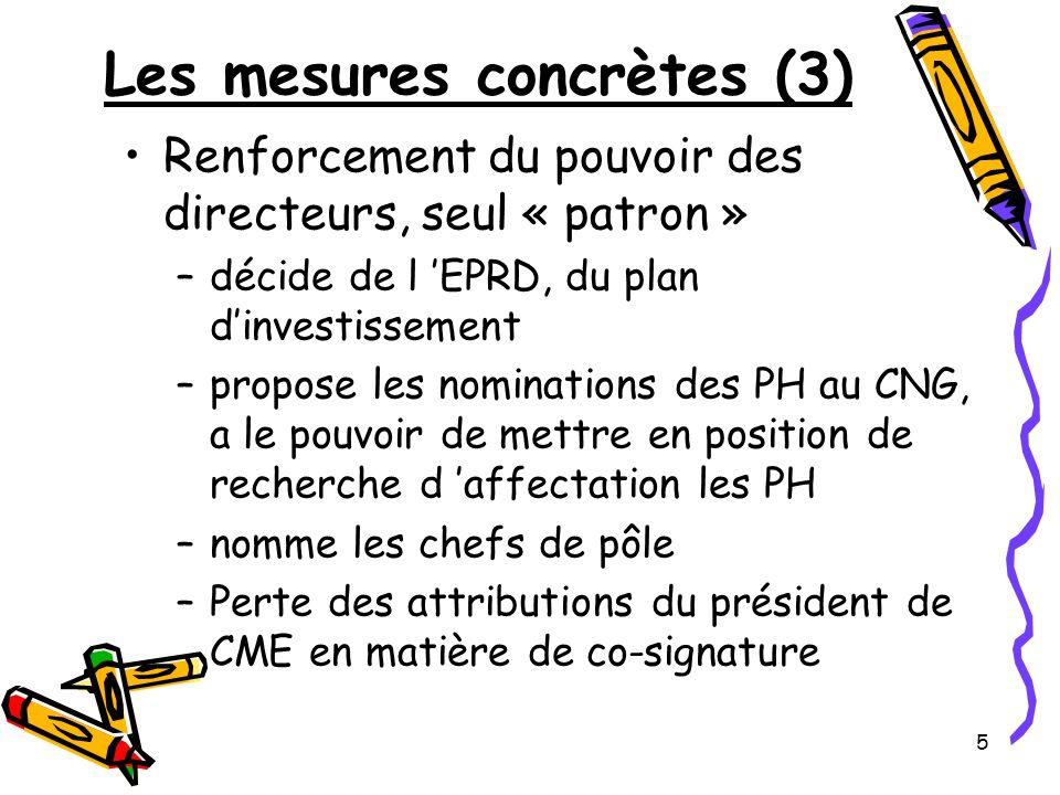 5 Les mesures concrètes (3) Renforcement du pouvoir des directeurs, seul « patron » –décide de l EPRD, du plan dinvestissement –propose les nomination